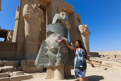 Tourists at Ramesseum temple in Luxor - Egypt Stock Photo