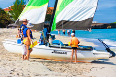 Tourists ready to go sailing in Cuba Royalty Free Stock Images