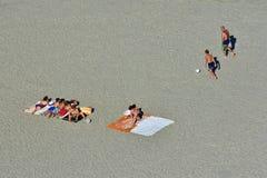 Tourists recreation on Mamaia beach Black sea coast. MAMAIA, CONSTANTA COUNTY, ROMANIA - AUGUST 11, 2018. Tourists recreation on Mamaia beach Black sea coast Stock Photography