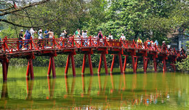 Tourists on Red Bridge Lake Hoan Kiem Hanoi Stock Images