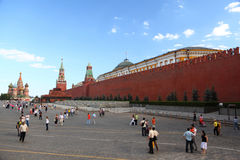 Tourists on Red Sguare near Kremlin wall Royalty Free Stock Images