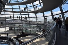 Tourists, Reichstag, and Spiral Ramps royalty free stock photos