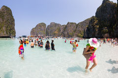 Tourists relax of Maya Bay on Phi Phi Leh, Thailand Stock Image