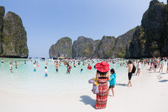 Tourists relax of Maya Bay on Phi Phi Leh, Thailand Stock Photography
