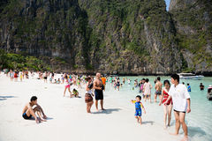 Tourists relax on Phi Phi Leh island, Thailand Royalty Free Stock Photo