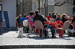 Tourists relaxing in the center of Salzburg Stock Image