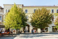 Tourists Relaxing Downtown In The Old Center Of Cluj Napoca stock photo