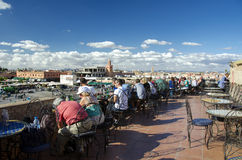 Tourists relaxing in Marrakesh royalty free stock photo