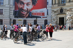 Tourists on rented bikes visiting Vienna Royalty Free Stock Photography