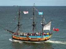 Tourists on Replica Galleon - Whitby - England Royalty Free Stock Images