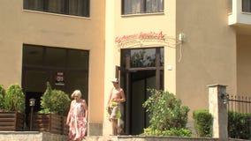 Tourists in the resort complex in Golden Sands, Bulgaria stock video