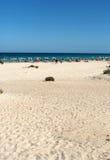 Tourists rest on Corralejo Beach on Fuerteventura Royalty Free Stock Photo