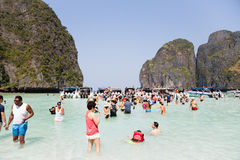 Tourists rest on Phi Phi Leh island, Thailand Royalty Free Stock Photography