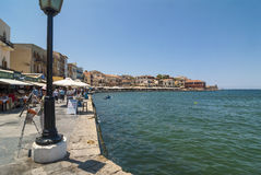 Tourists and restaurants Chania harbour Royalty Free Stock Image