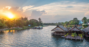 Tourists restaurants on the floating house rafting at kwai river Royalty Free Stock Photos