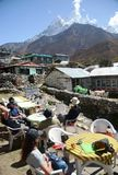 Tourists resting in the Everest base camp trail Stock Images