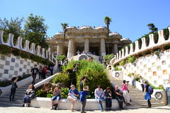 Tourists resting at Park Güell, Barcelona, Spain Stock Photos