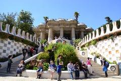 Tourists resting at Park Güell, Barcelona, Spain Stock Photos