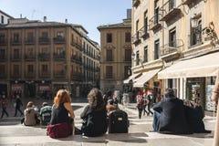 Tourists resting on the square Las Pasiegas Royalty Free Stock Photos
