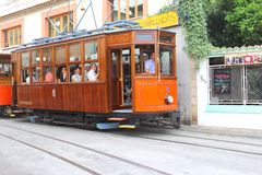 Tourists in the retro tram of Soller, Majorca Stock Images