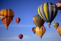 Tourists ride hot air ballons Royalty Free Stock Photo