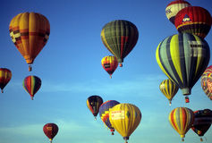 Tourists ride hot air balloons Royalty Free Stock Photo