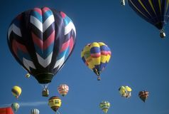 Tourists ride hot air balloons Stock Image