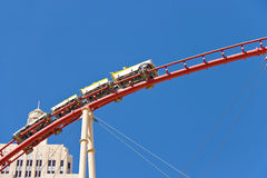 Tourists ride on a roller coaster in Las Vegas Stock Images
