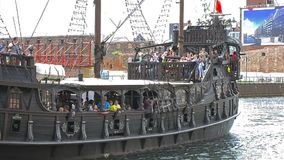 Tourists ride on sailing tour boat, Gdansk, Poland stock footage