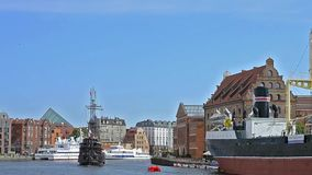 Tourists ride on sailing tour boat, Gdansk, Poland stock video