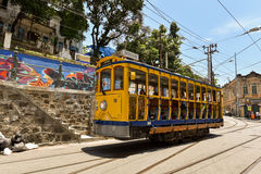 Tourists Ride Santa Teresa Tram Stock Image