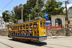Tourists Ride Santa Teresa Tram Royalty Free Stock Photography