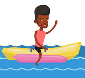 Tourists riding a banana boat vector illustration. Royalty Free Stock Photos