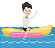 Tourists riding a banana boat vector illustration. Royalty Free Stock Photo