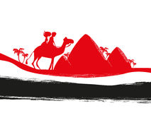 Tourists riding camel. Vector Illustration Stock Image