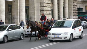 Tourists riding horse carriage in Rome Downtown stock video footage