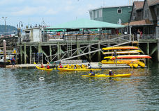 Tourists riding sea kayaks in Bar Harbor, Maine Royalty Free Stock Images