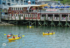 Tourists riding sea kayaks in Bar Harbor, Maine Royalty Free Stock Photo