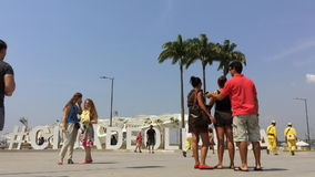 Tourists at Rio Olympics Sign stock video footage