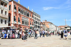 Tourists on Riva degli Schiavoni in Venice Royalty Free Stock Photography