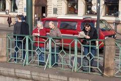 Tourists on riverside of Vltava river Royalty Free Stock Photos