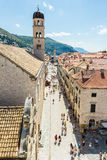 Tourists roaming Stradun Placa in Dubrovnik`s Old Town, Croati Royalty Free Stock Photography