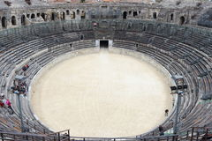 Tourists in Roman Amphitheater, Nîmes, France Royalty Free Stock Photography