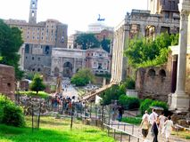 Tourists at the Roman Forum Royalty Free Stock Photography