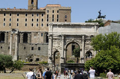 Tourists in Roman Forum Rome Stock Image