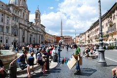 Tourists in Rome city Navona place on May 29, 2014 Royalty Free Stock Photos