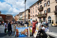 Tourists in Rome city Navona place on May 29, 2014 Stock Photos