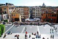 Tourists in Rome city visiting Spanish steps on May 29, 2014 Stock Photo
