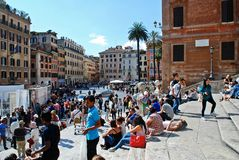 Tourists in Rome city visiting Spanish steps on May 29, 2014 Royalty Free Stock Images
