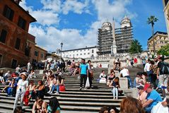 Tourists in Rome city visiting Spanish steps on May 29, 2014 Stock Images